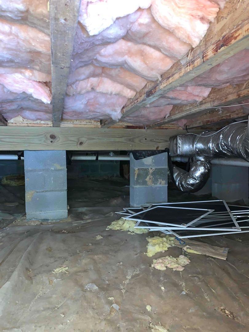 Clean Space & Spray Foam in Williamsburg, VA Crawl Space - Before Photo