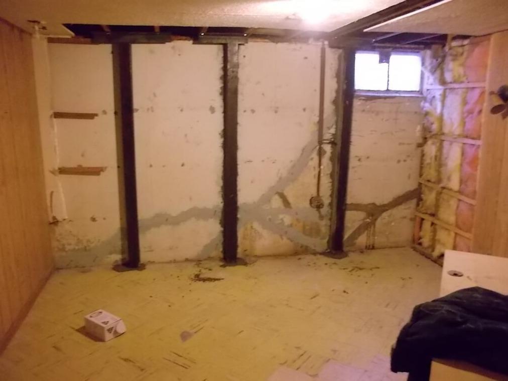Bowed Wall Repair Using Steel Beams - After Photo