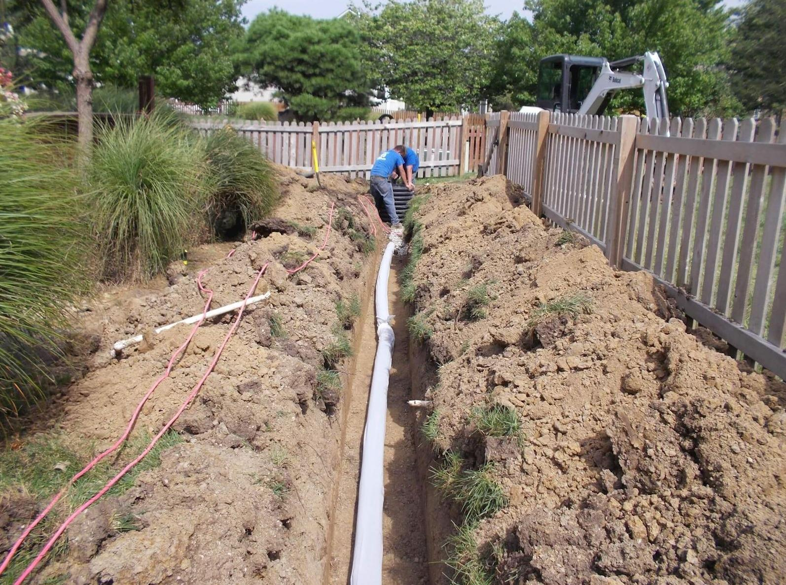 French Drain or Curtain Drain Installation - Before Photo