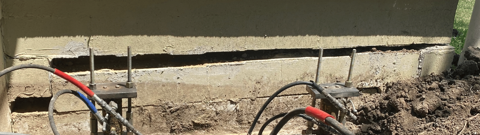 Foundation Crack Fixed in Americus, KS - Before Photo