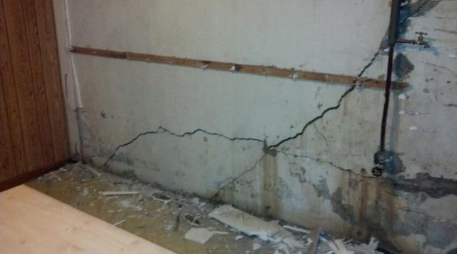 Bowed Wall Repair Using Steel Beams - Before Photo