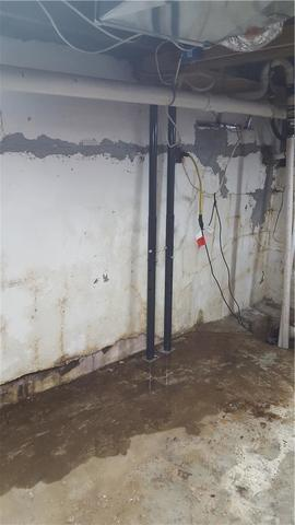 Water Damaged Walls Secured with Geo-Locks in Whittington, IL