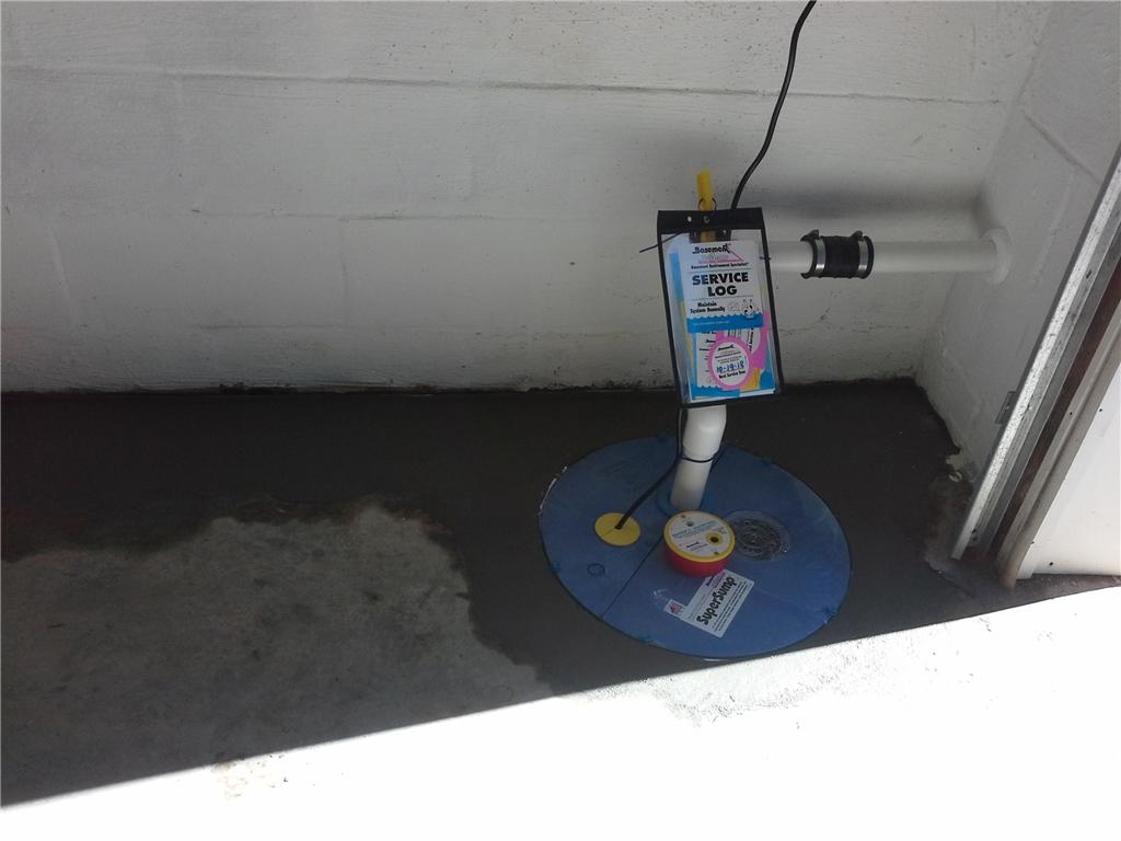 Water Intrusion in Hendersonville, NC Garage Leads to WaterGuard and SuperSump Installation - After Photo