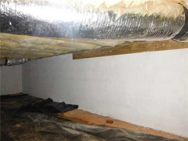Cleanspace Liner Installation in Wet Crawlspace in Asheville, NC