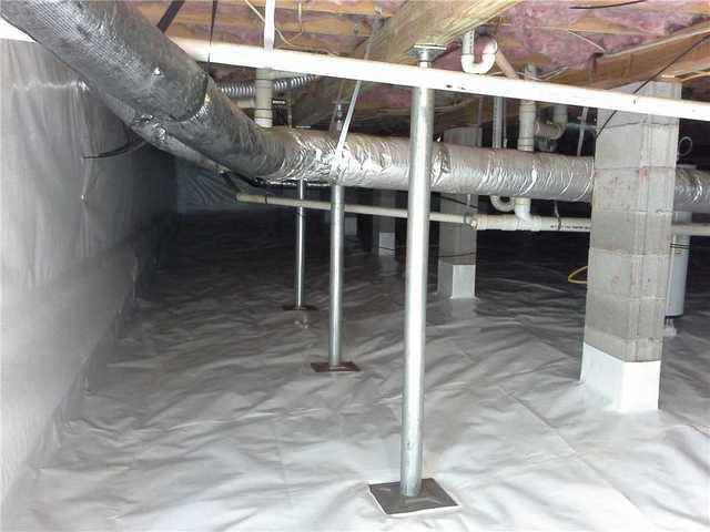 Home with Damp Crawlspace and Sagging Floors in Anderson, SC Has SmartJacks and CleanSpace Installed