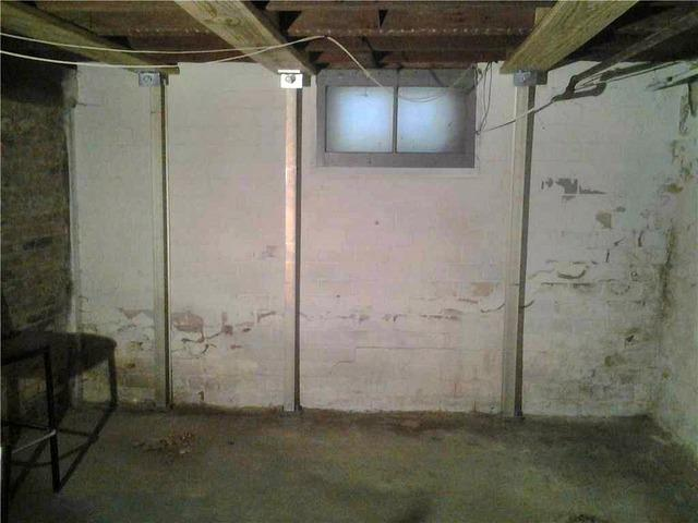 Cracked & Bowing Foundation Wall in Saint Paul, MN Basement