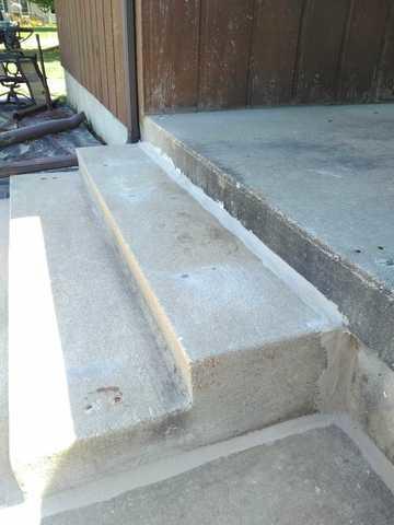 Sunken Concrete Steps Raised in Ostrander, MN