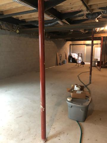 Unfinished Basement Insulated in West Concord, MN