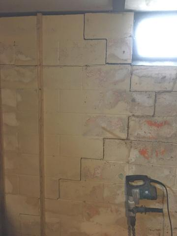 Wall Anchors Stabilize Foundation in Luverne, MN - Before Photo