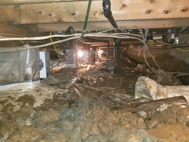 Unstable, Flooded Crawl Space Repair in Holbrook, PA