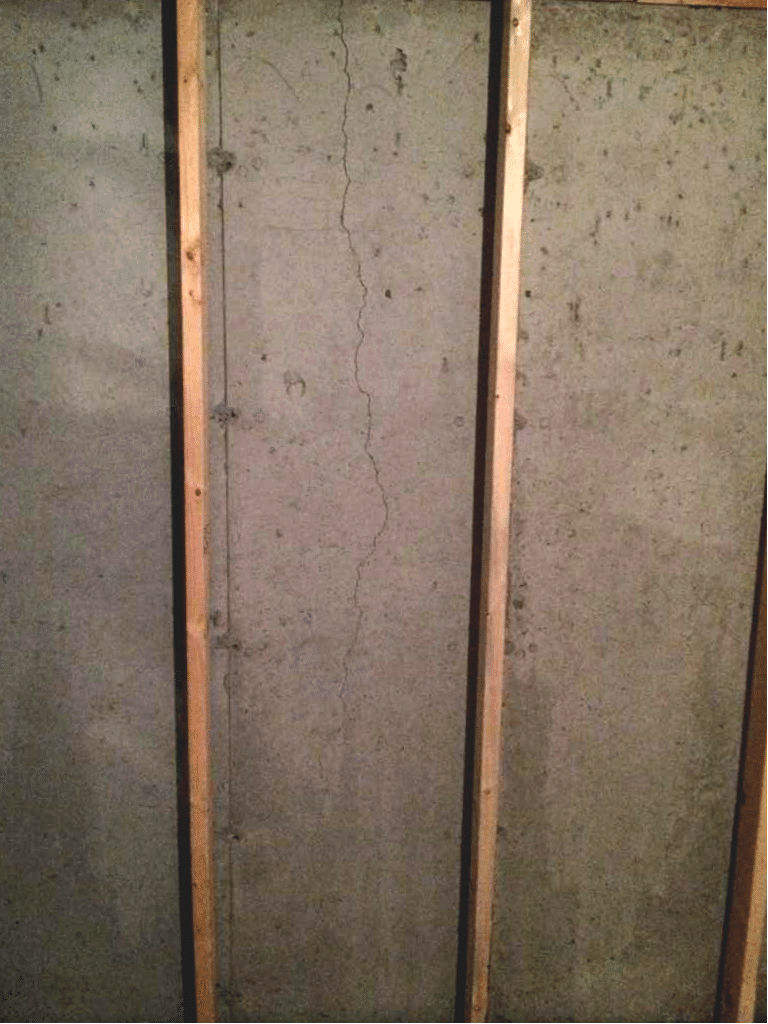 Fixing a Leaking Crack in NE Calgary, AB - Before Photo