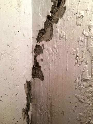 Foundation Injection to Repair a Leaking Crack in SW Calgary, AB - Before Photo