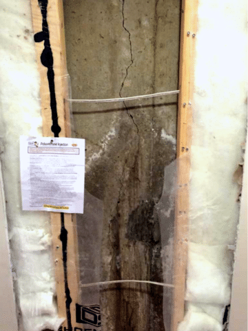 Crack Repair of a Foundation Wall in SW Calgary, AB - Before Photo