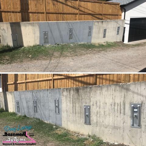 Failing Retaining Wall Saved By Basement Systems Calgary
