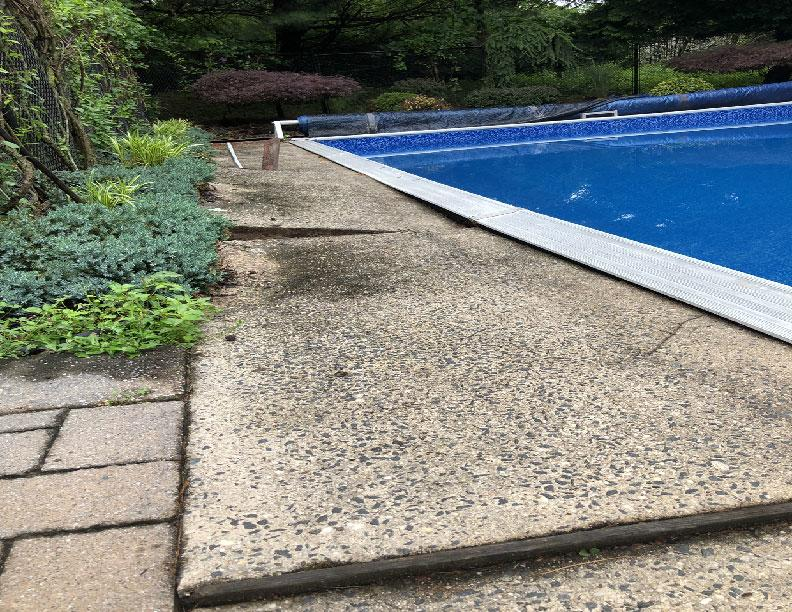 PolyLevel Pool Deck Repair in NY - Before Photo