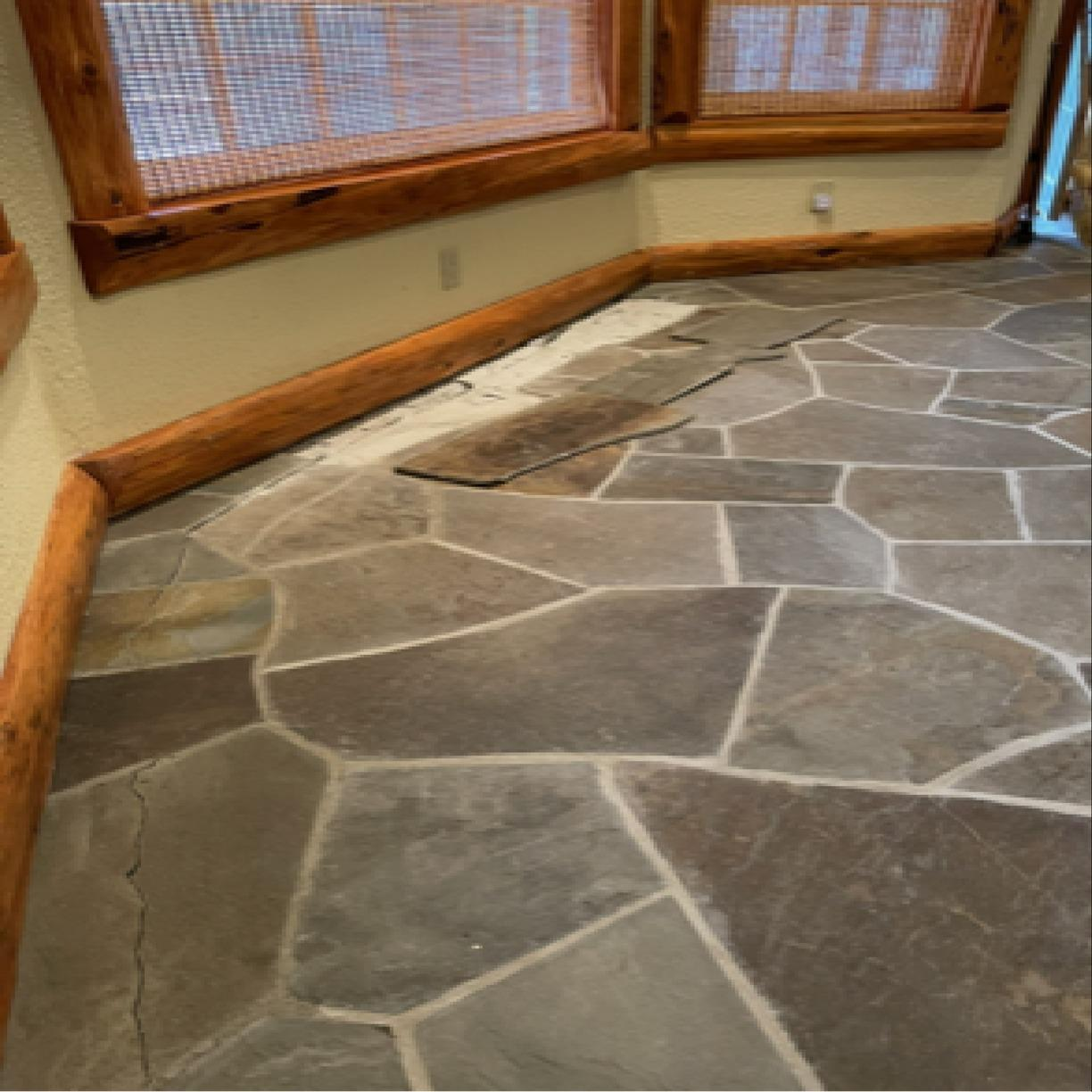 Lifting and Leveling Sunken Floors Due To Poor Compaction With PolyLevel - White Lake, NY - Before Photo