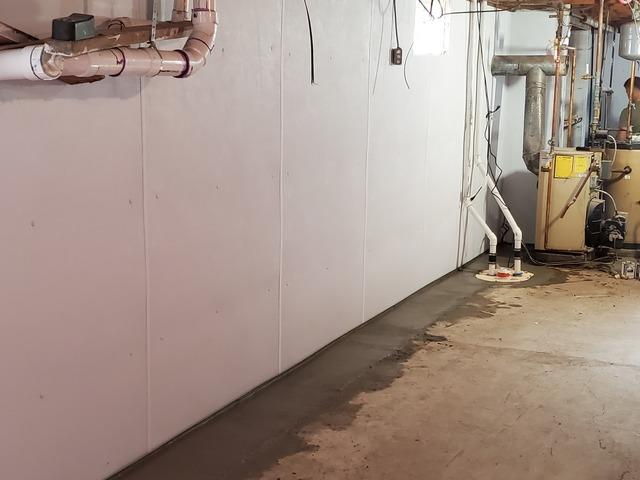 Installing FlowGuard Perimeter Waterproofing Systems With BrightWall and A Triple Safe Sump Pump - Pine Bush, NY