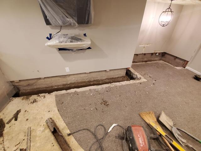 Waterproofing a Finished Basement With Our Patented FlowGuard System And a Gravity Discharge - Goshen, NY