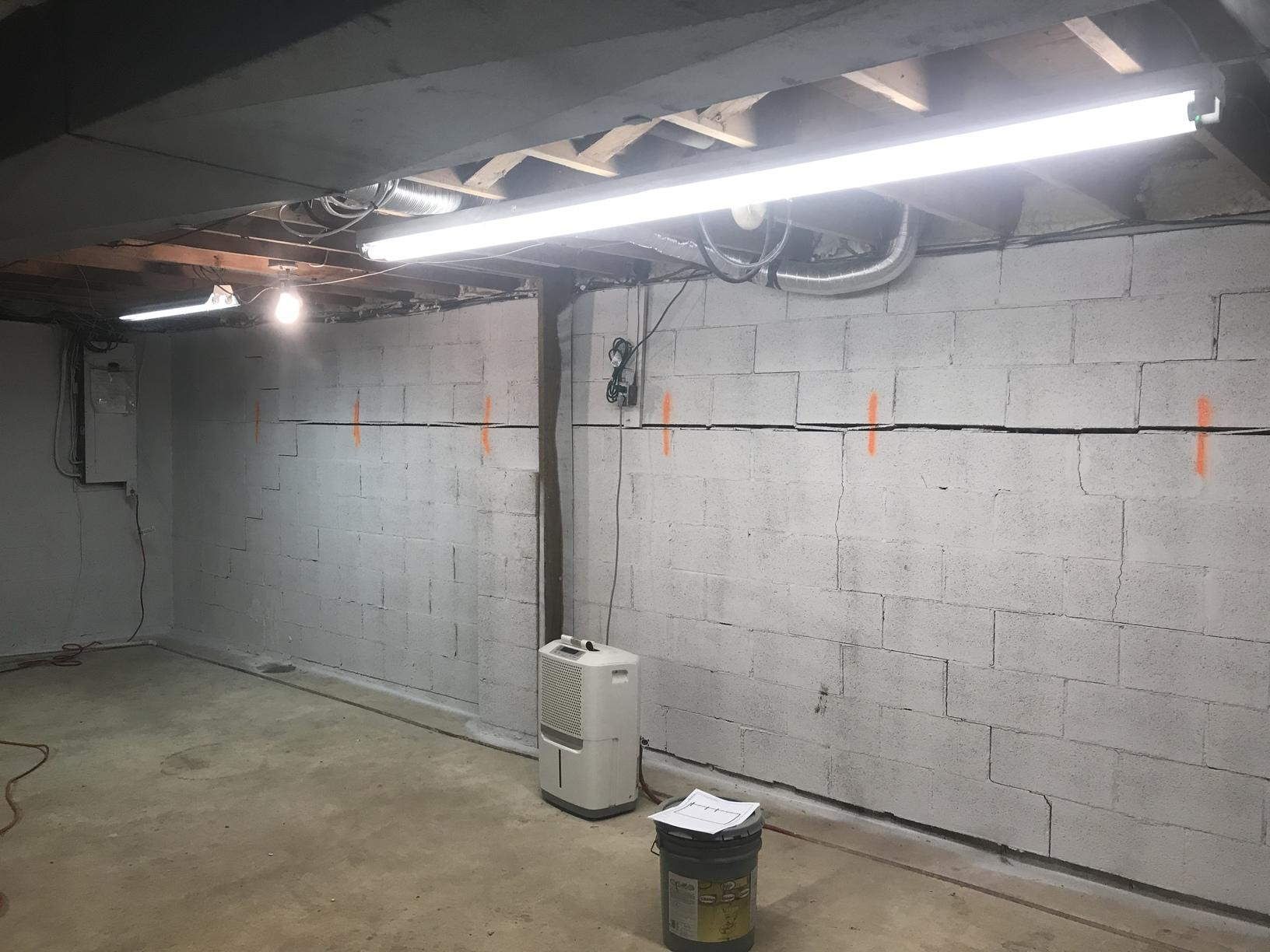 Stabilizing a Bowing Foundation Wall in Elkton - Before Photo