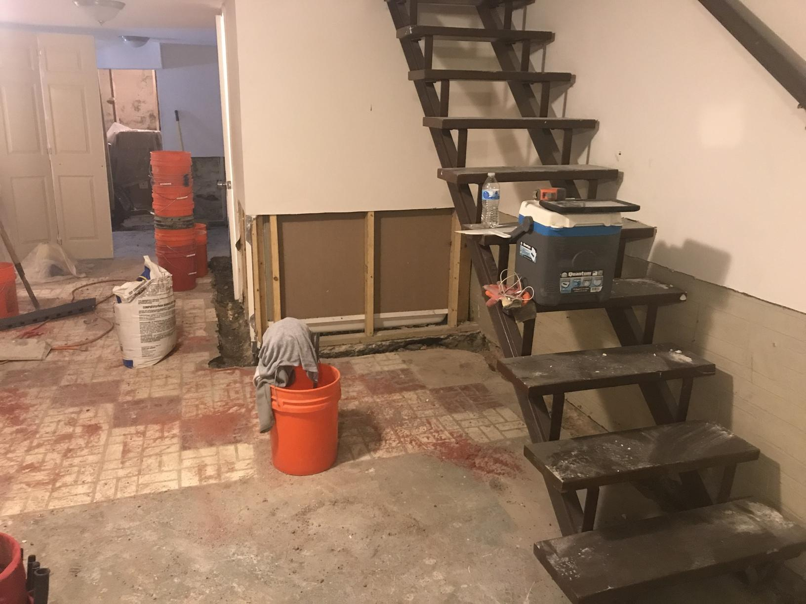 Restoration with Waterproof Products = No More Mold in a Baltimore, MD Basement - Before Photo