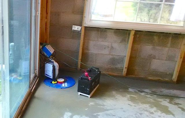 SuperSump with UltraSump Battery Backup Installed in Walkout Basement in West Grove, PA
