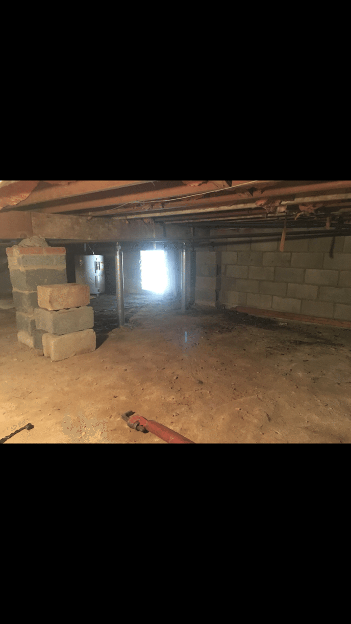 Structurally Unstable Crawl Space in Roxborough, PA - Before Photo