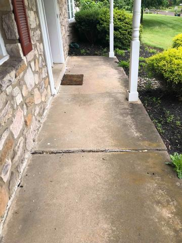 Concrete Porch Leveling in Conestoga, Pa - Before Photo