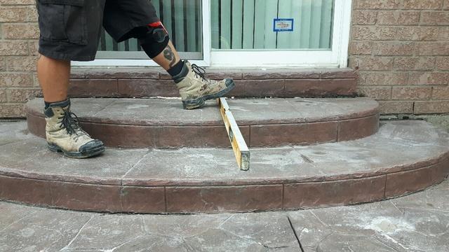 Lifting & Leveling Backyard Patio Steps in Baldwin, ON