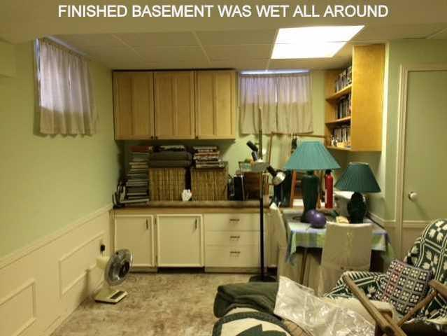 Finished Basement Damaged by Failing Drain, Aurora, ON