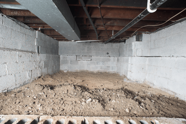 Crawl Space Vapor Barrier Installation - Before Photo