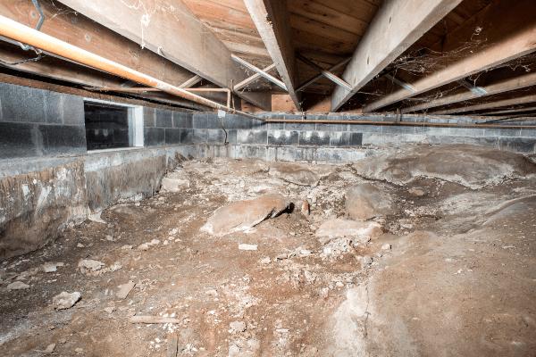 Crawl Space Insulation & Vapor Barrier Installation - Before Photo