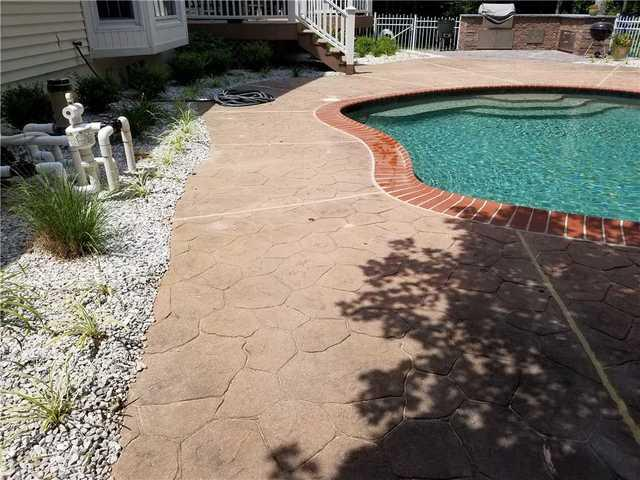 Stamped Concrete Pool Deck Raised in Waldorf, MD - Before Photo