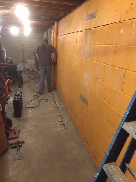 Powerbraces Stabilize Walls in Henderson, KY Basement - Before Photo