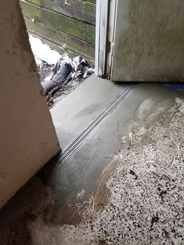 West Kingston, RI Basement Has TrenchDrain to Stop Flooding From Bulkhead Steps