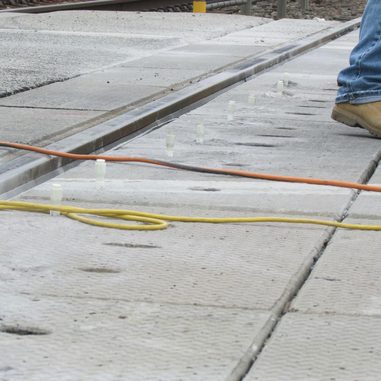 Lifting sunken concrete at Gwynedd Train Station  - Before Photo