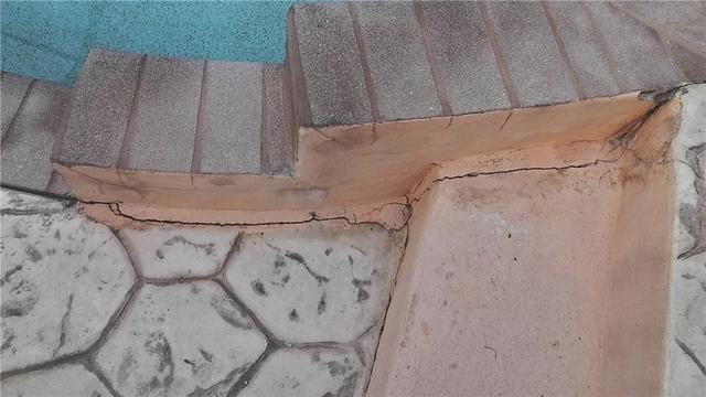 Pool Area Repair and Filled Concrete Cracks