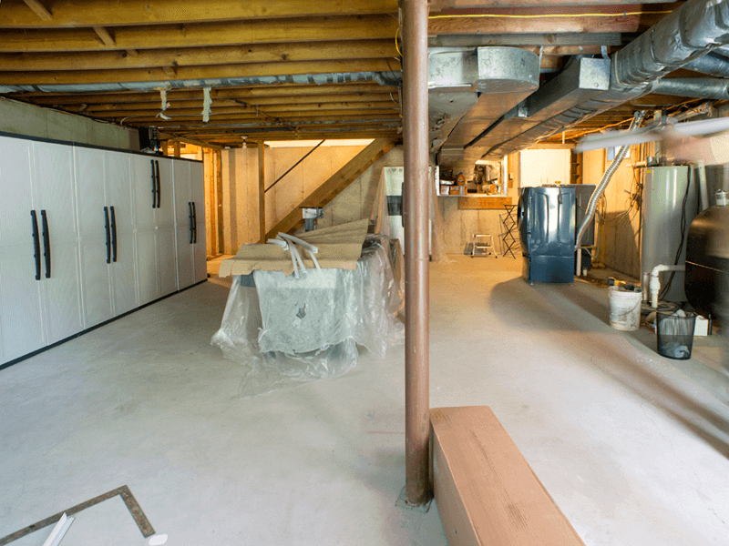 Basement to Entertainment Room - Before Photo
