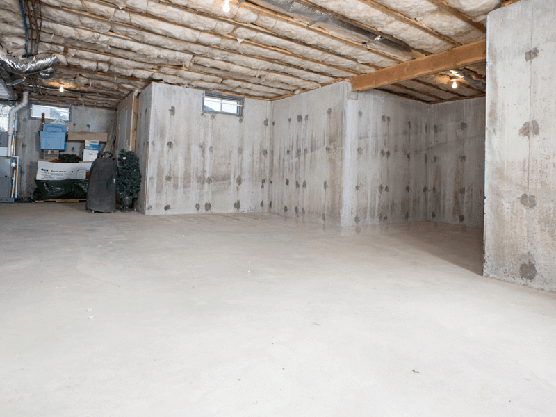 Basement Walls, Floors, Ceiling Tiles, and Window - Before Photo