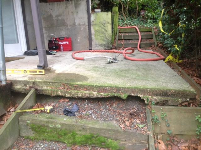 Concrete Lifting & Leveling on Patio in Mercer Island, WA - Before Photo