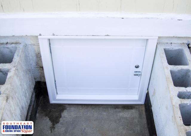 Replacing an Old Crawl Space Door with a Custom Door in Elizabethtown, NC