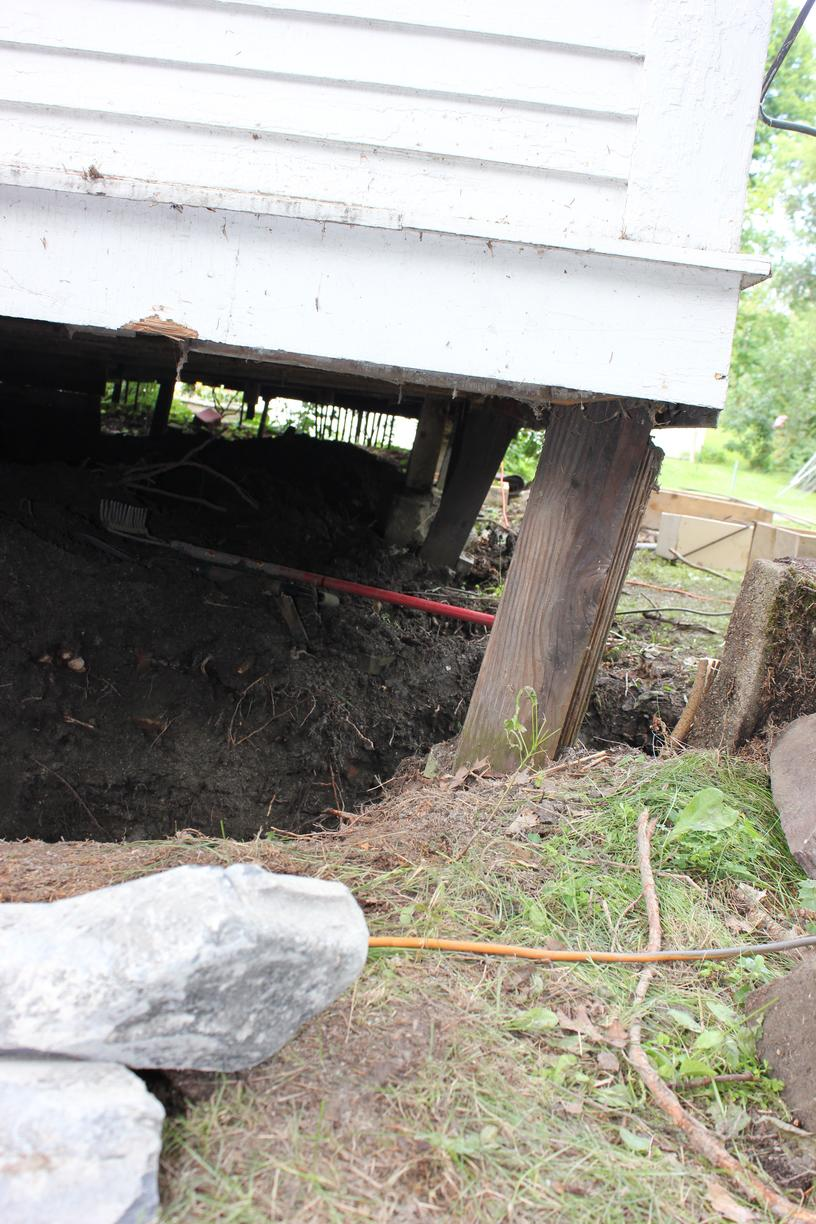 Foundation Piers Stabilized Barn in Montpelier, VT - Before Photo