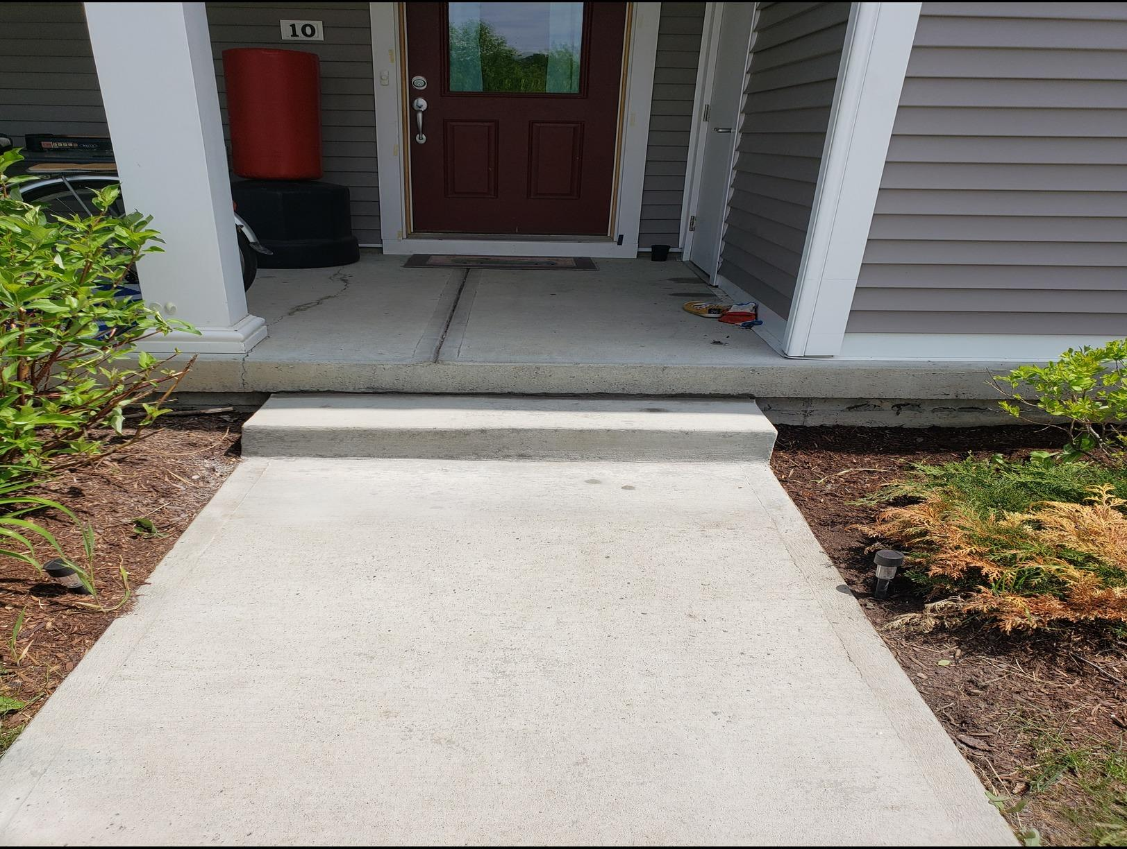 Leveling of a concrete walkway in Saint Albans, Vermont - After Photo