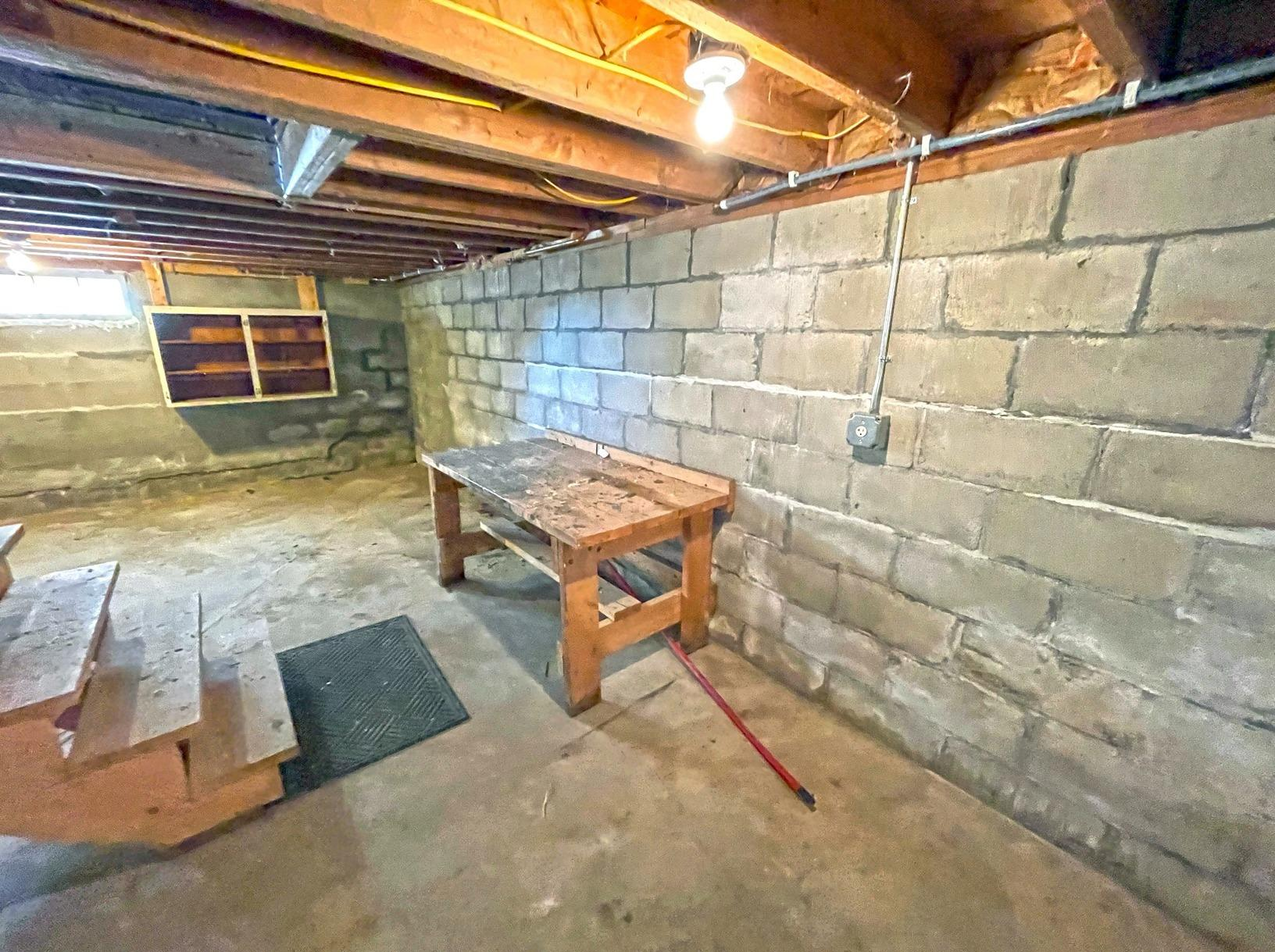 Basement Wall Problems solved in Middlebury, Vermont. - Before Photo