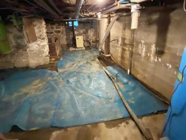 Basement Waterproofing & Vapor Control in South Burlington, Vermont.