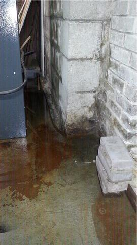 Dark Leaking Basement made Bright and Dry with WaterGuard,  BrightWall & SuperSump In Sudbury ON - Before Photo