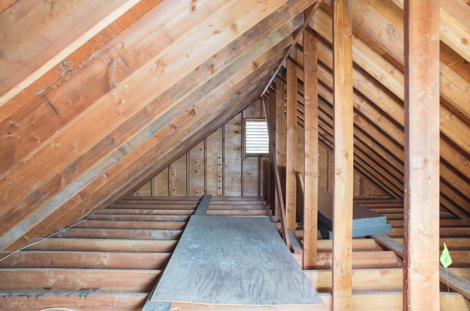 Blown-In Cellulose Attic Insulation - Before Photo