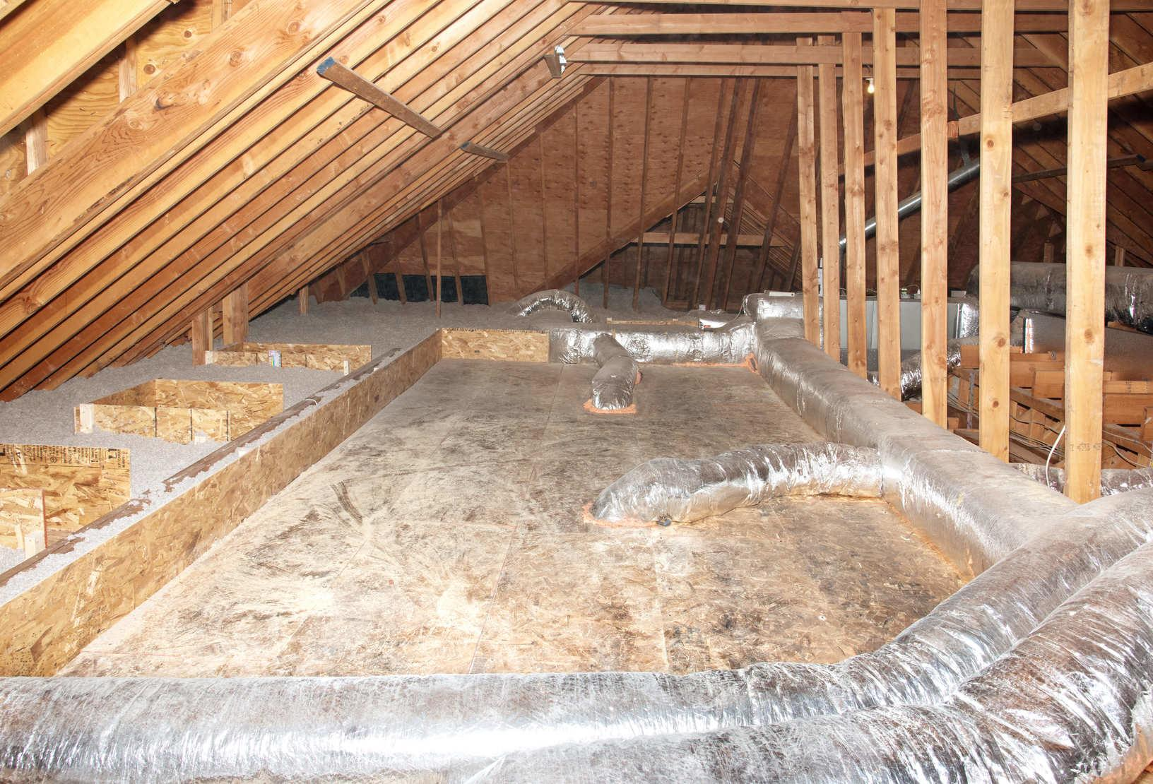 Attic Insulation and Air Sealing Ductwork - After Photo