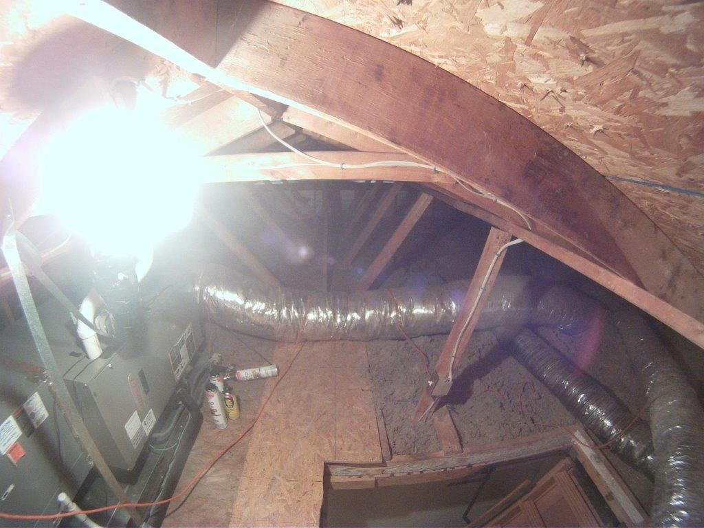 Air Sealing, radiant barrier and insulation - Before Photo