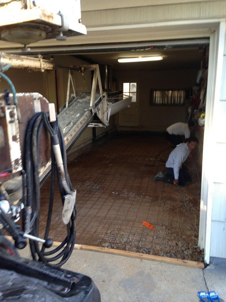 Concrete Garage Floor in Edison - Before Photo