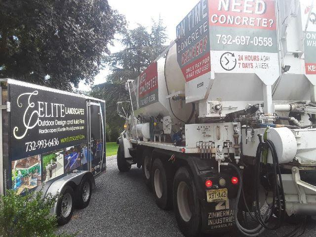 Concrete delivered to Elite Landscapes in Rumson, NJ